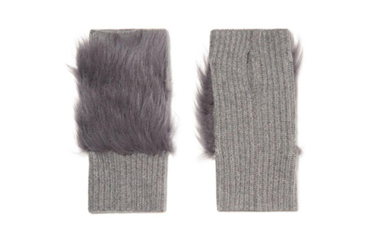 karl donoghue shearling trimmed ribbed cashmere fingerless gloves