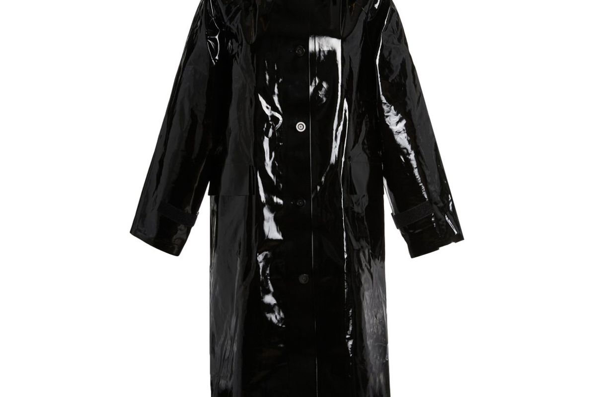 kassl sherling lined lacquered cotten blend raincoat
