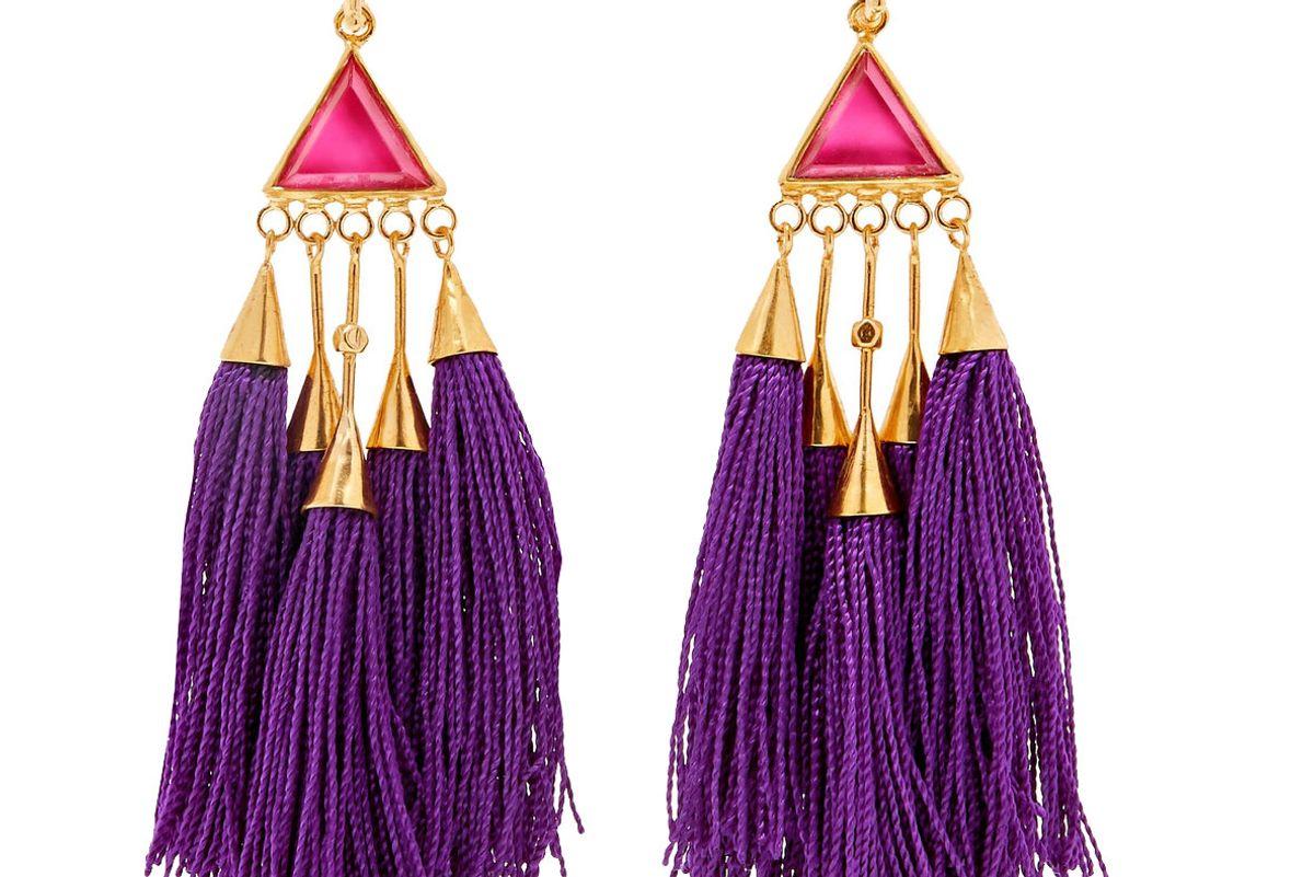 katerina makriyianni tasseled gold tone crystal earrings