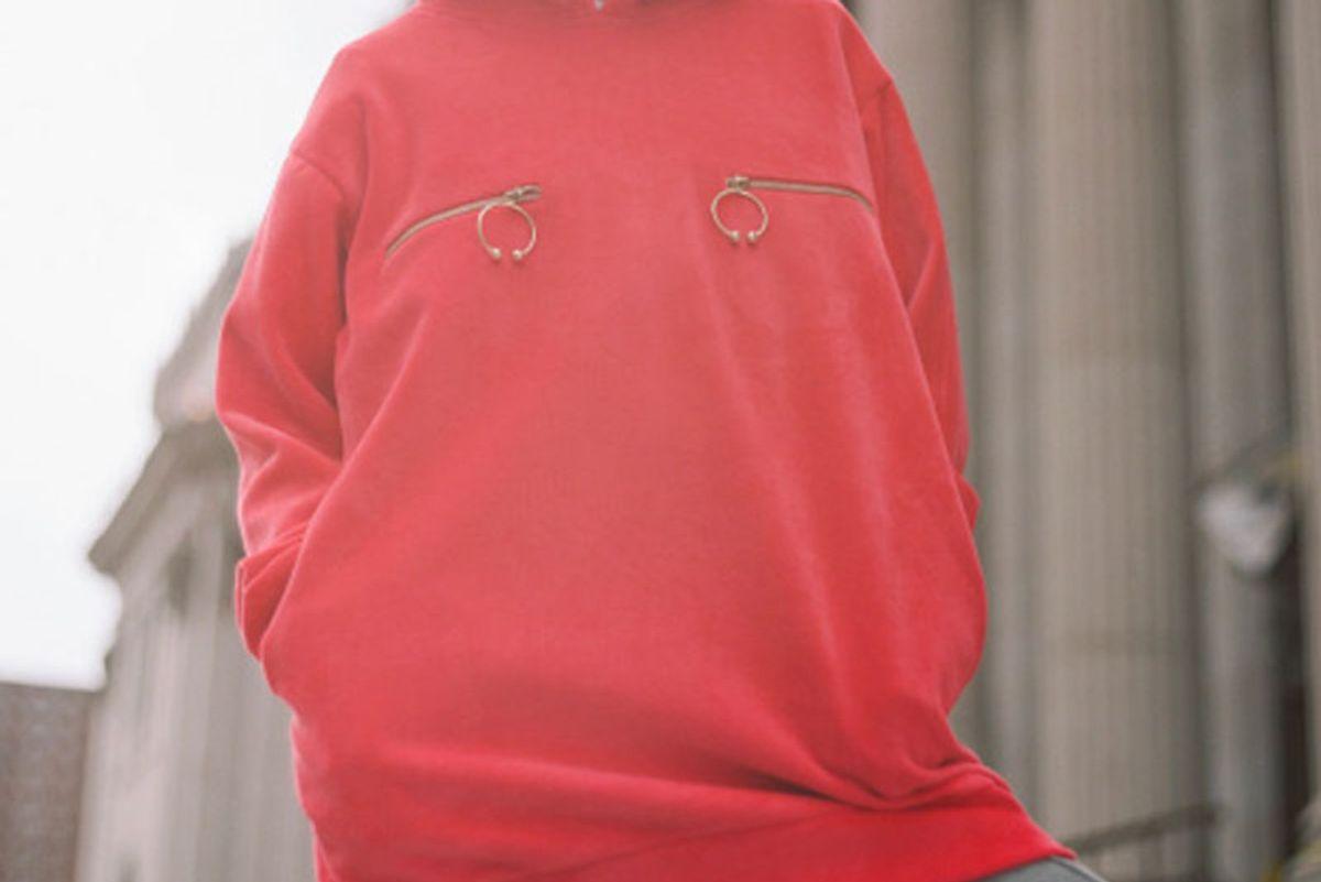 Red Nipple Ring Velour Hoodie