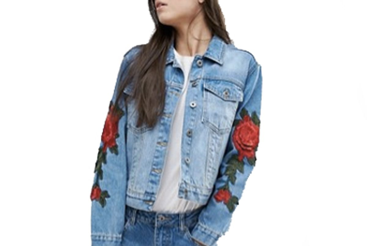 Floral Embroidered Slim Denim Jacket
