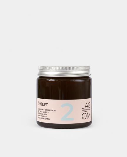 lagom om lift geranium and grapefruit amber candle