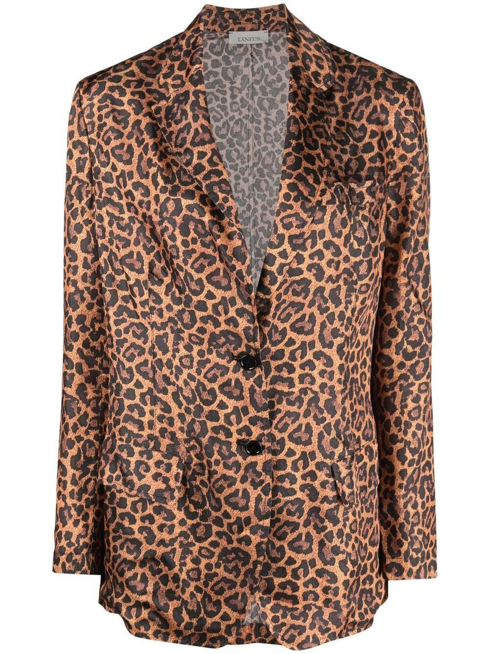 laneus leopard print single breasted blazer