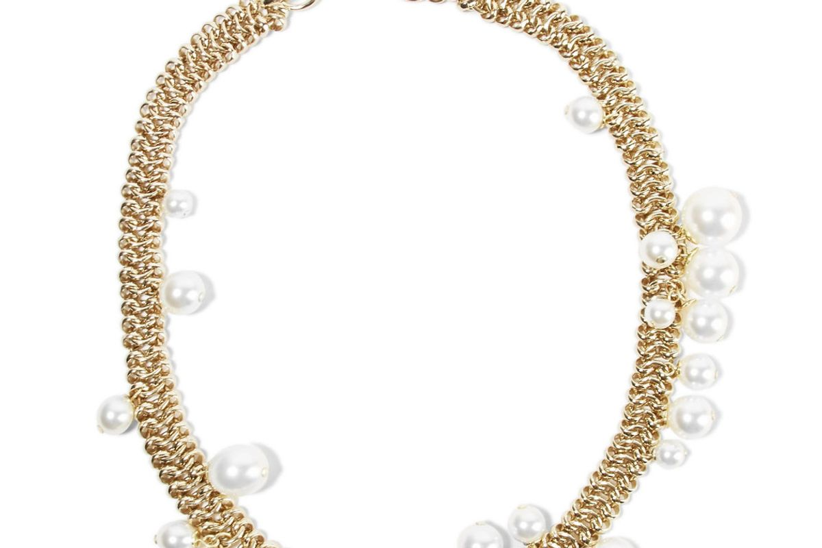 Gold-Tone Faux Pearl Necklace