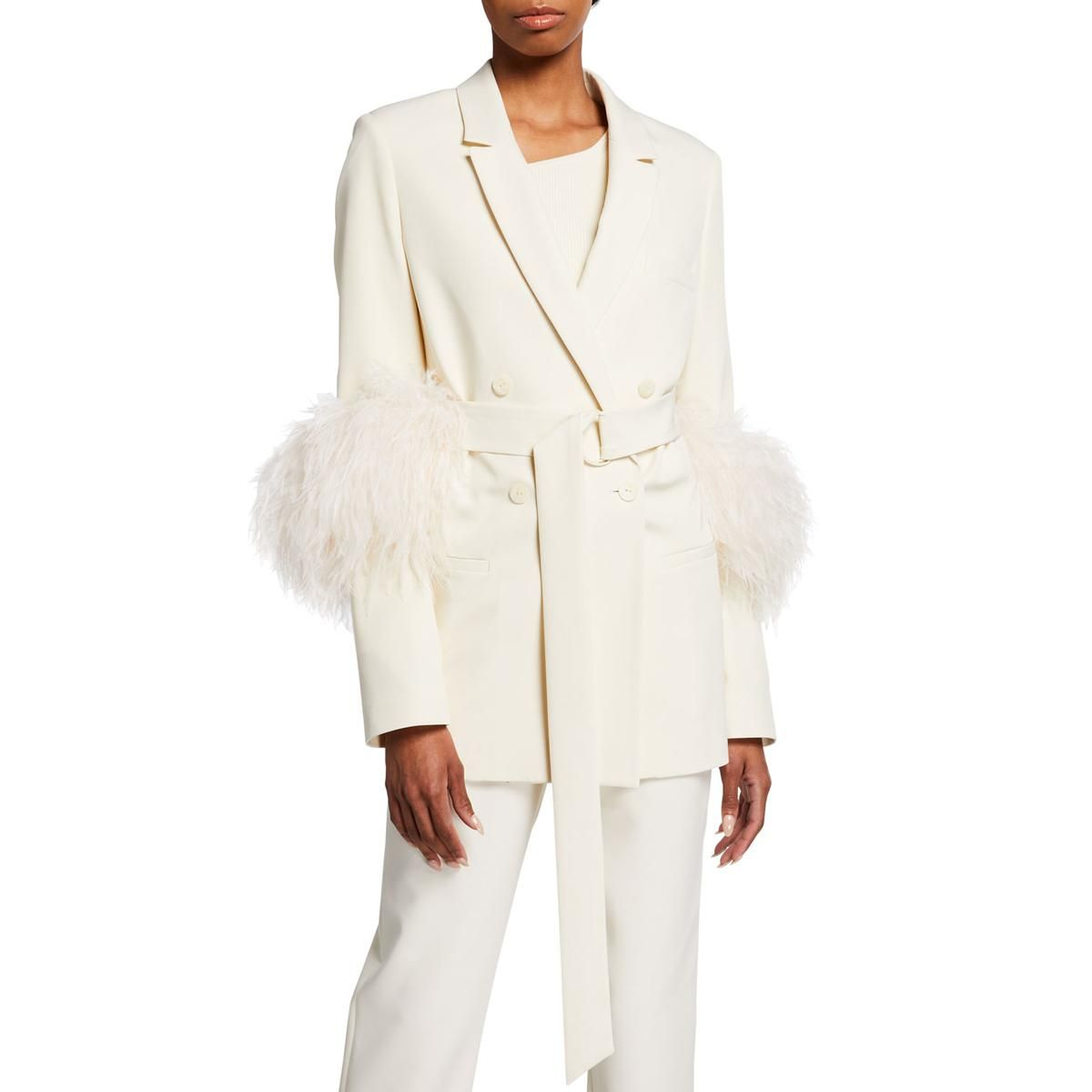 lapointe belted crepe blazer with feather trim