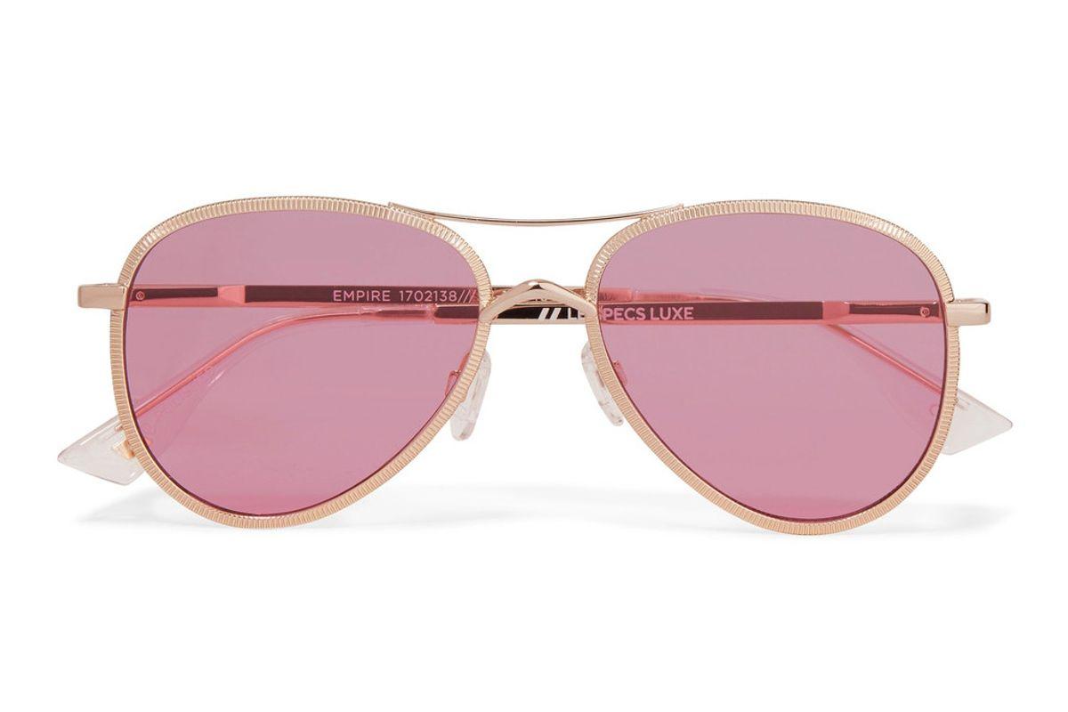 Empire Aviator-Style Rose Gold-Tone Sunglasses