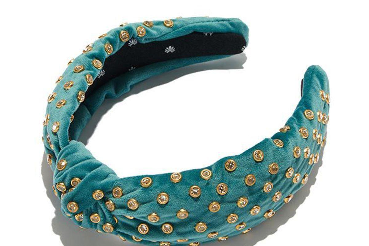 lelesadoughi emerald velvet crystal headband