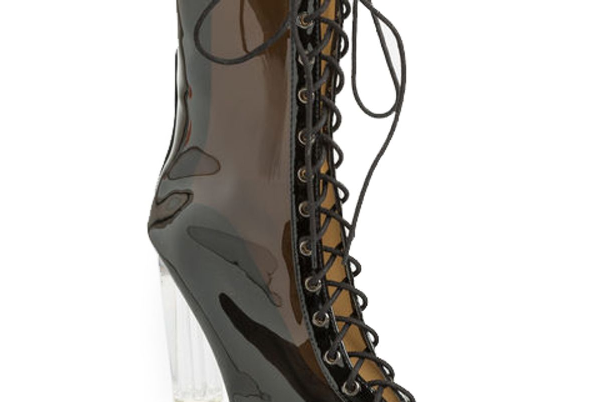 Lace-Up Clear Heel Booties