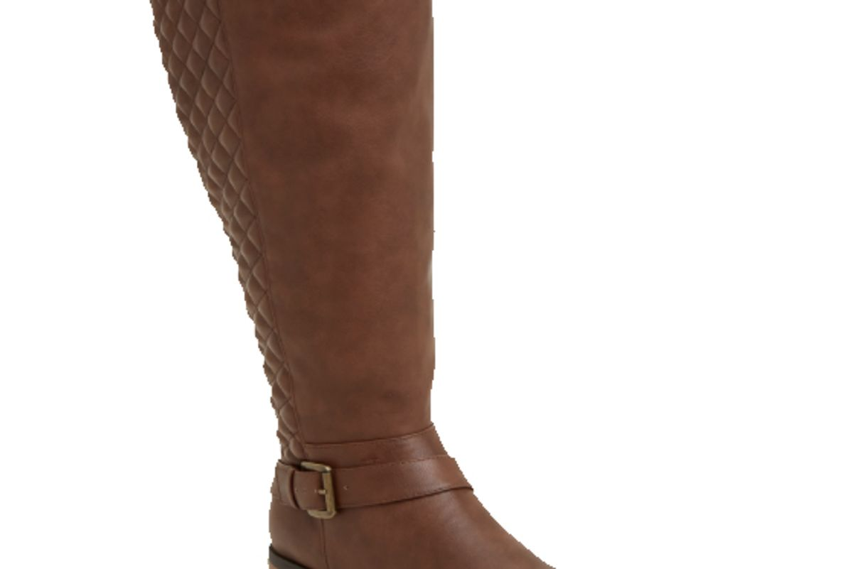 Quilted Side Zip Buckle Knee-High Boots