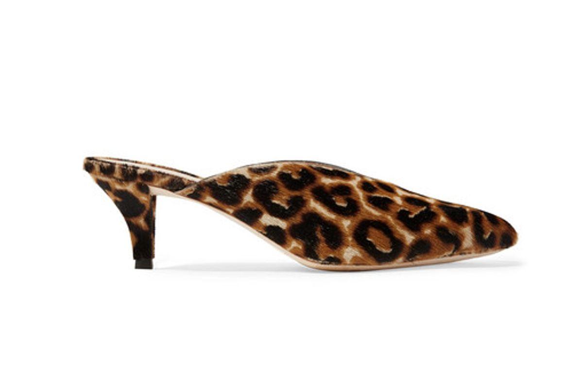 loeffler randall juno leopard print calf hair mules