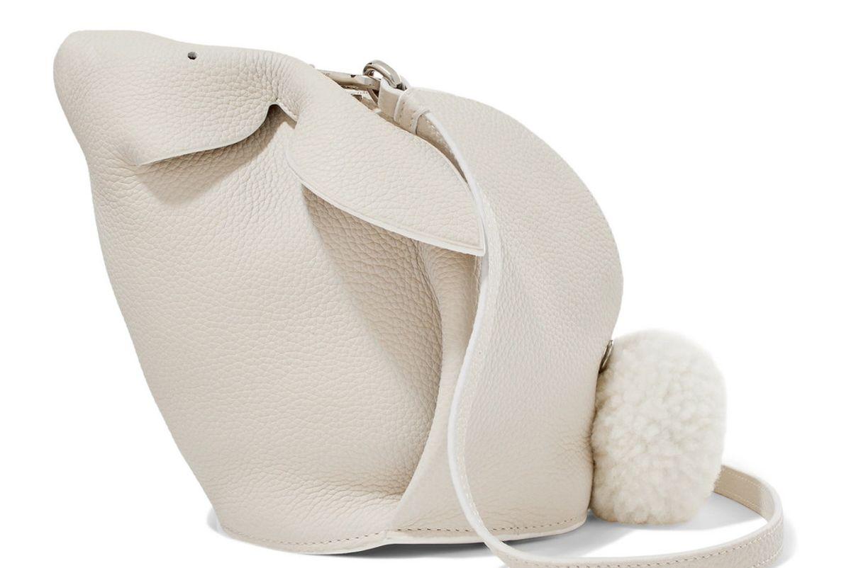 loewe bunny mini shearling trimmed textured leather shoulder bag