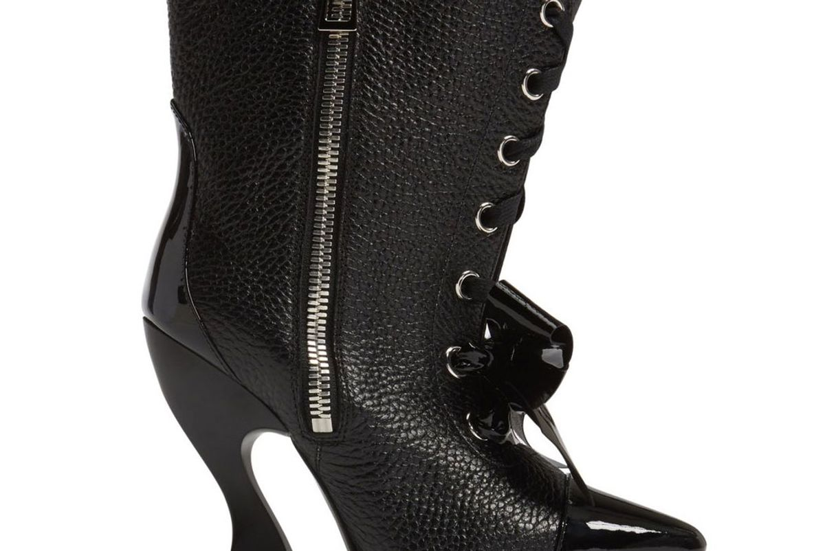 Curved Heel Bow Bootie