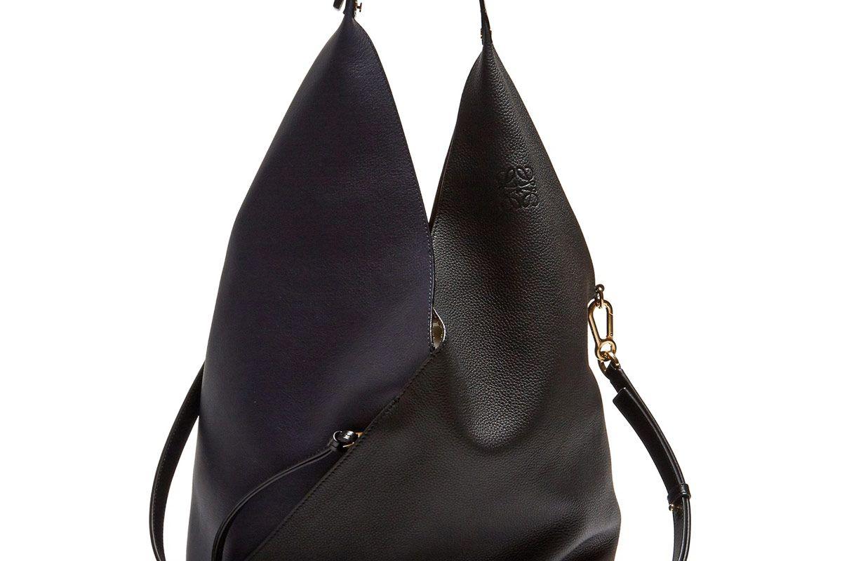 Sling Contrast-Panel Leather Shoulder Bag