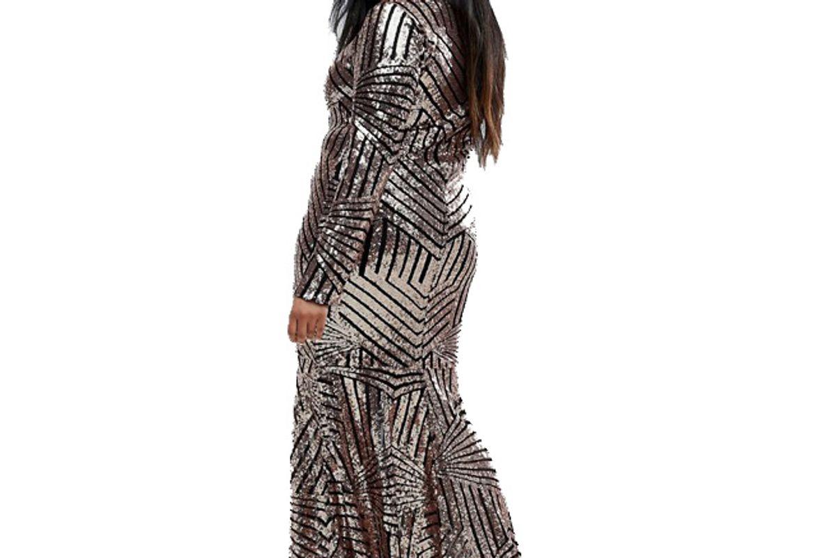 Plus All Over Glitter Long Sleeve Maxi Dress