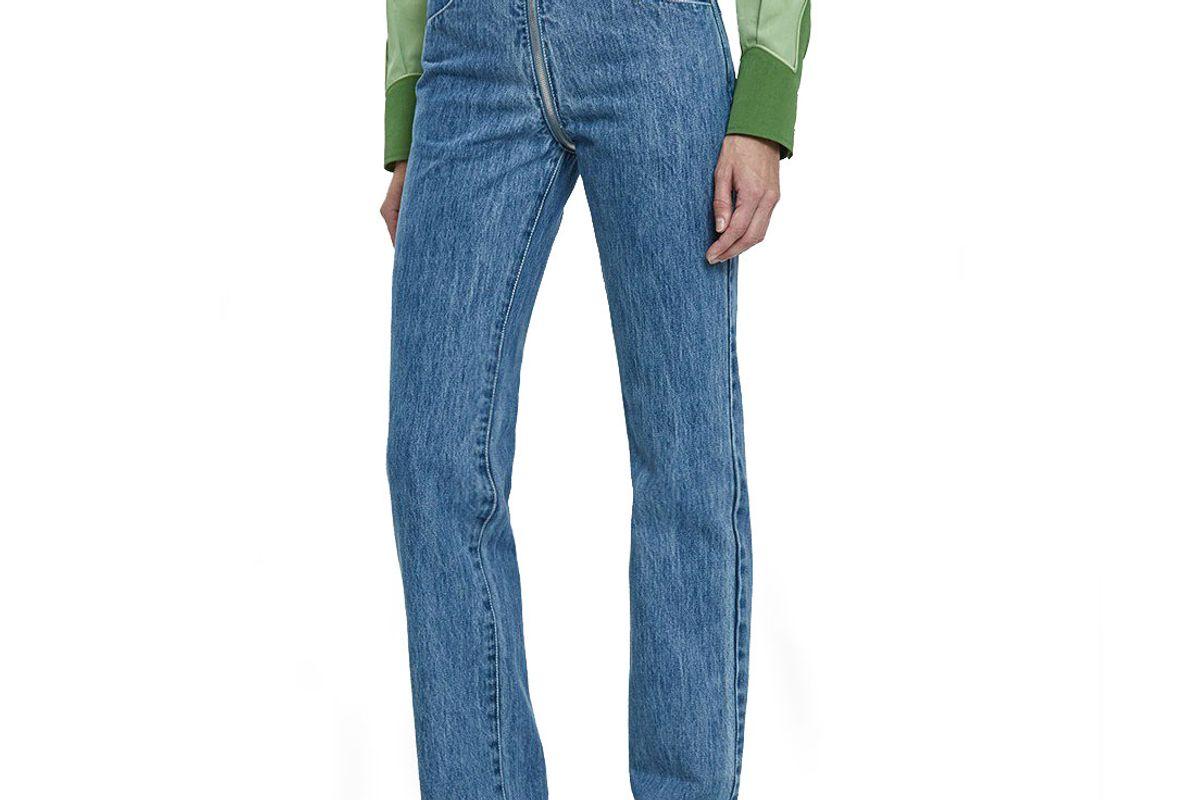 lorod zip through pant in indigo stonewash