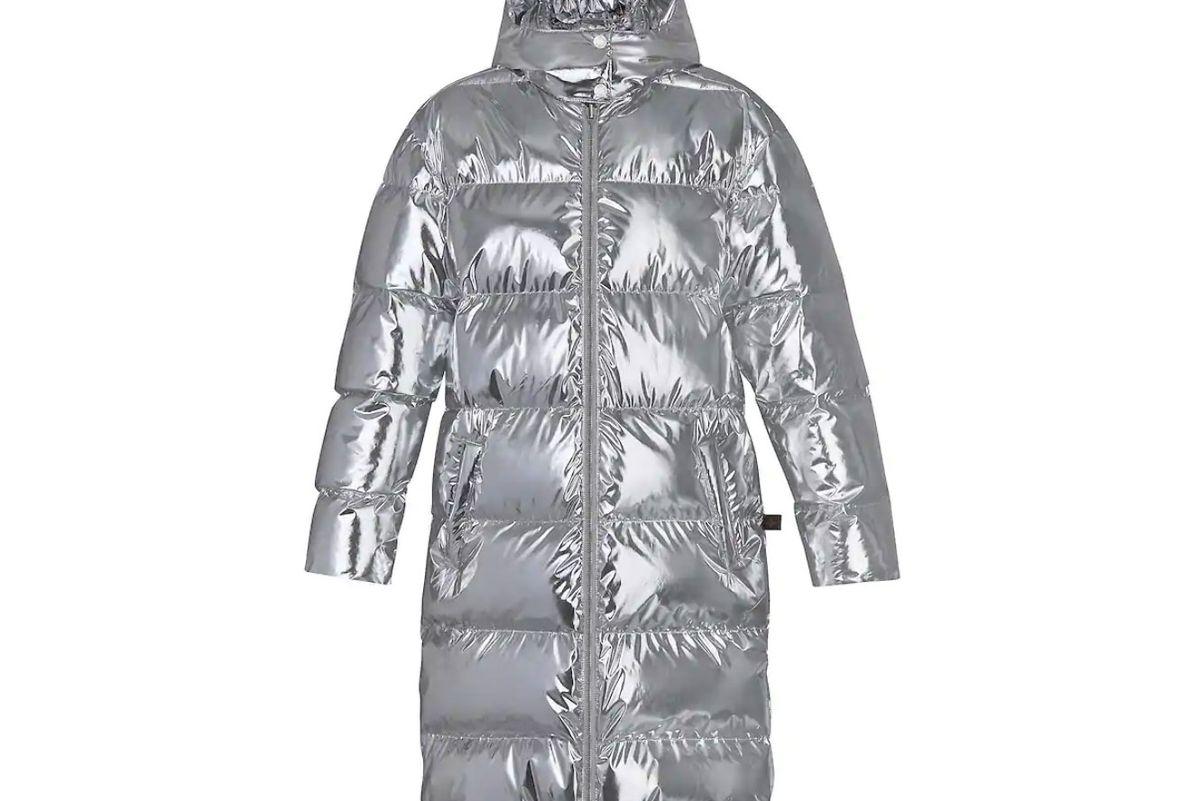 louis vuitton metallic long down coat