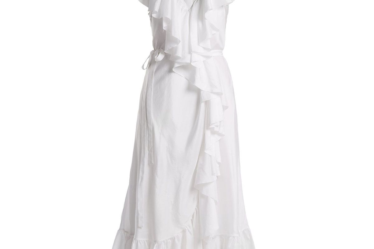 loup charmant callela ruffle trimmed silk dress
