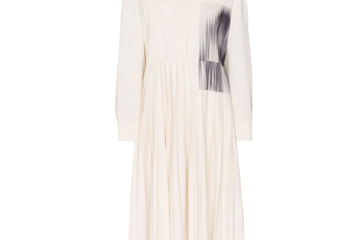 low classic contrast patch pleated shirt dress