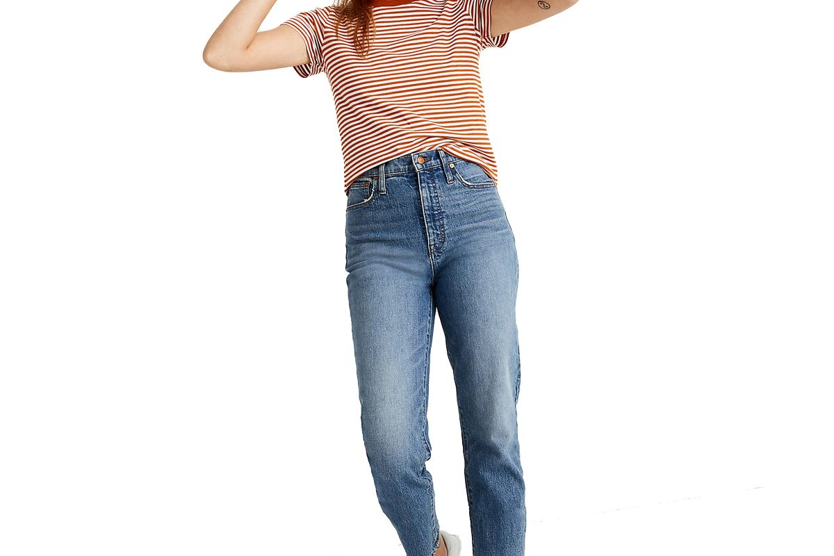 madewell tall classic straight jeans in peralta wash