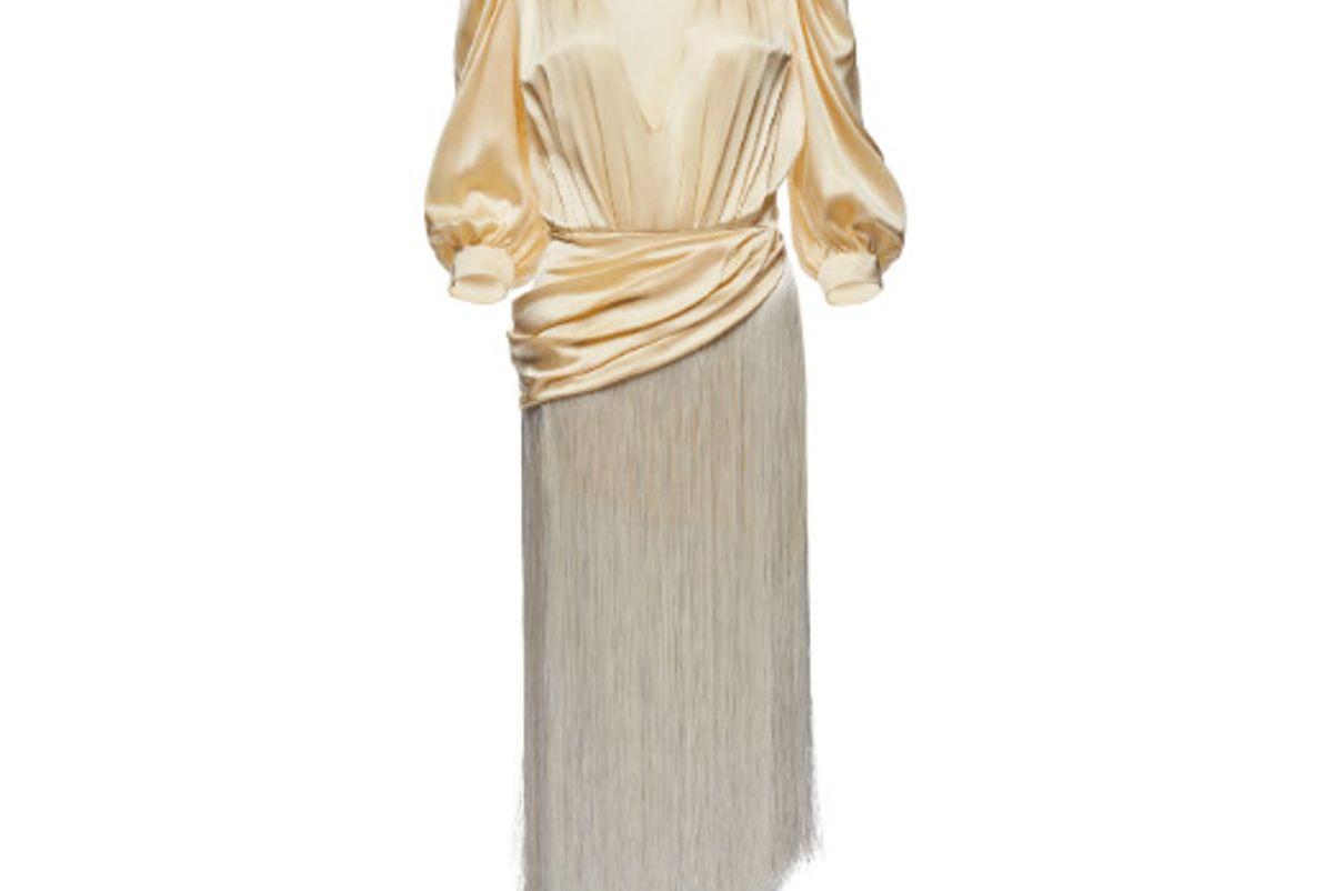 magda butrym wels asymmetric fringed silk satin midi dress