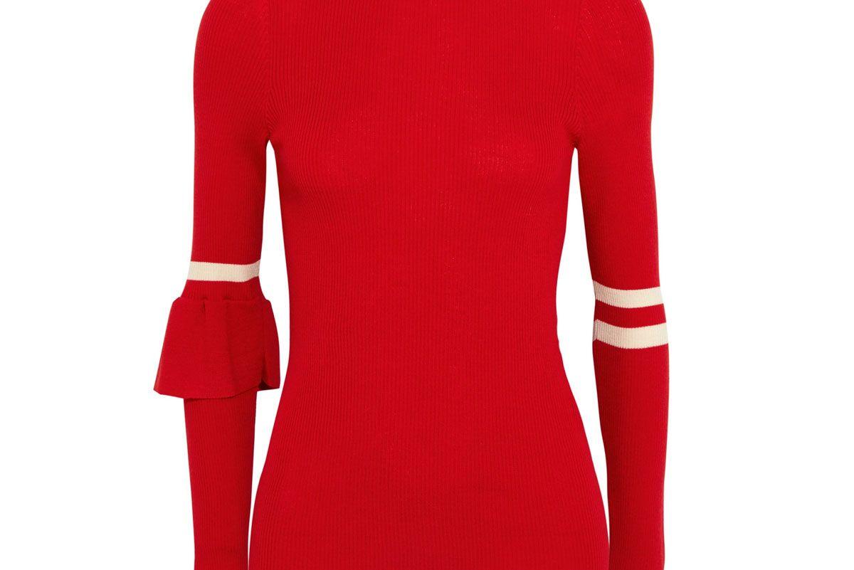 Heart Whisper Striped Ribbed Merino Wool Sweater