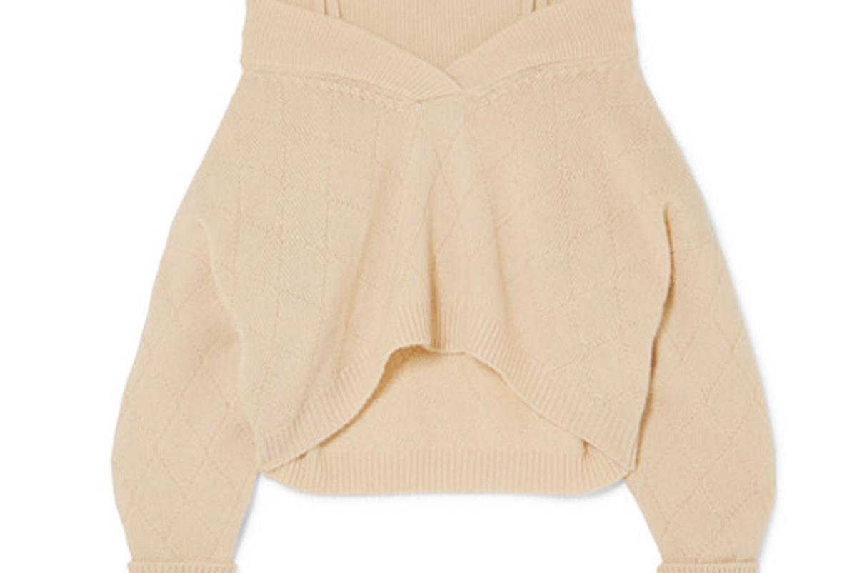 maison margiela cold shoulder wool blend sweater