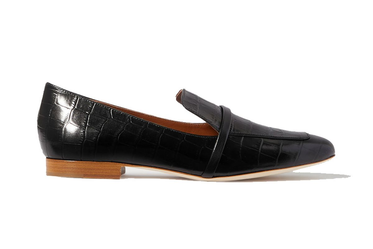 malone souliers jane croc effect leather loafers