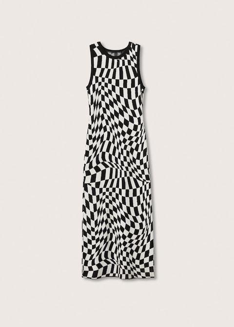mango check knit dress