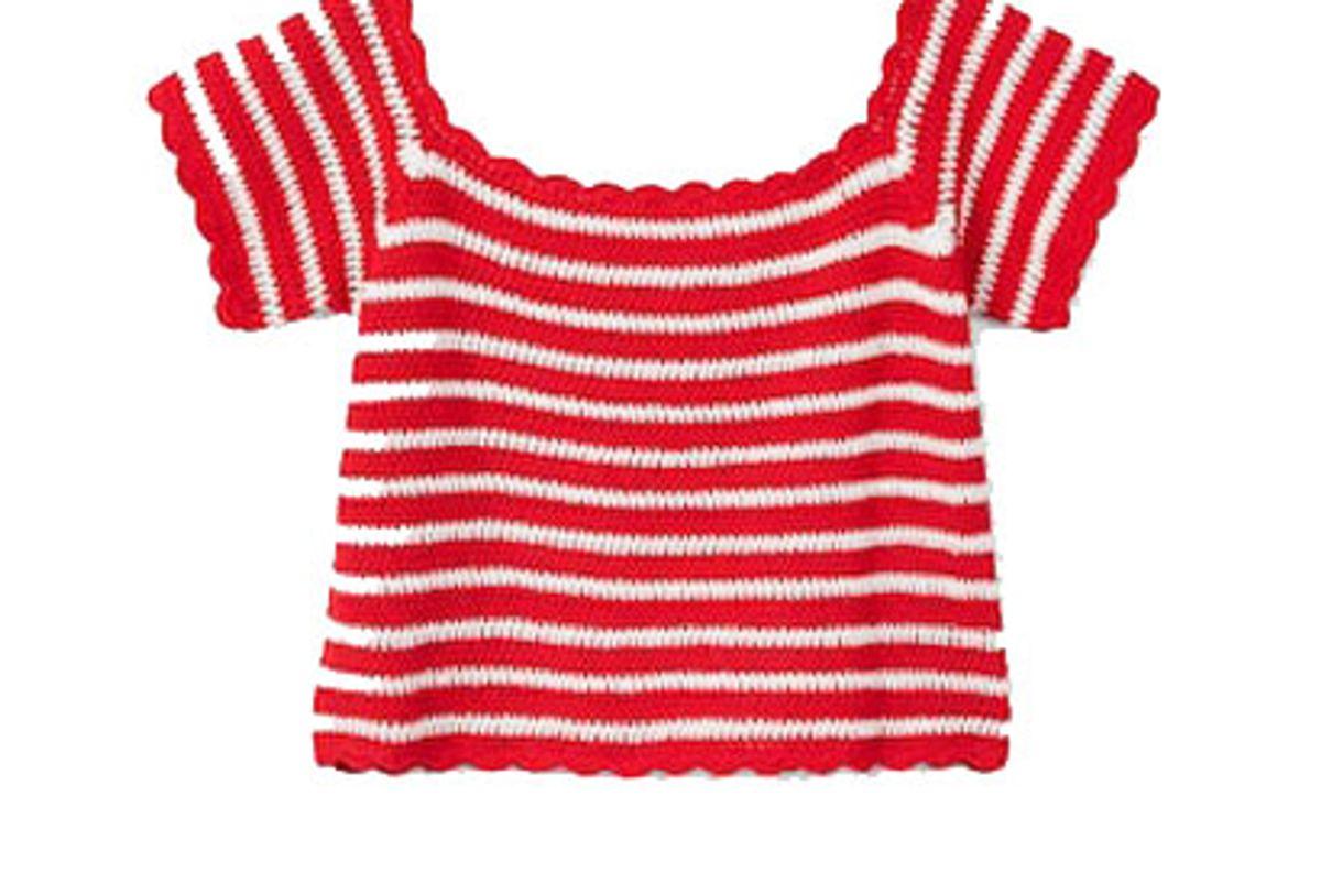 mango striped crochet top