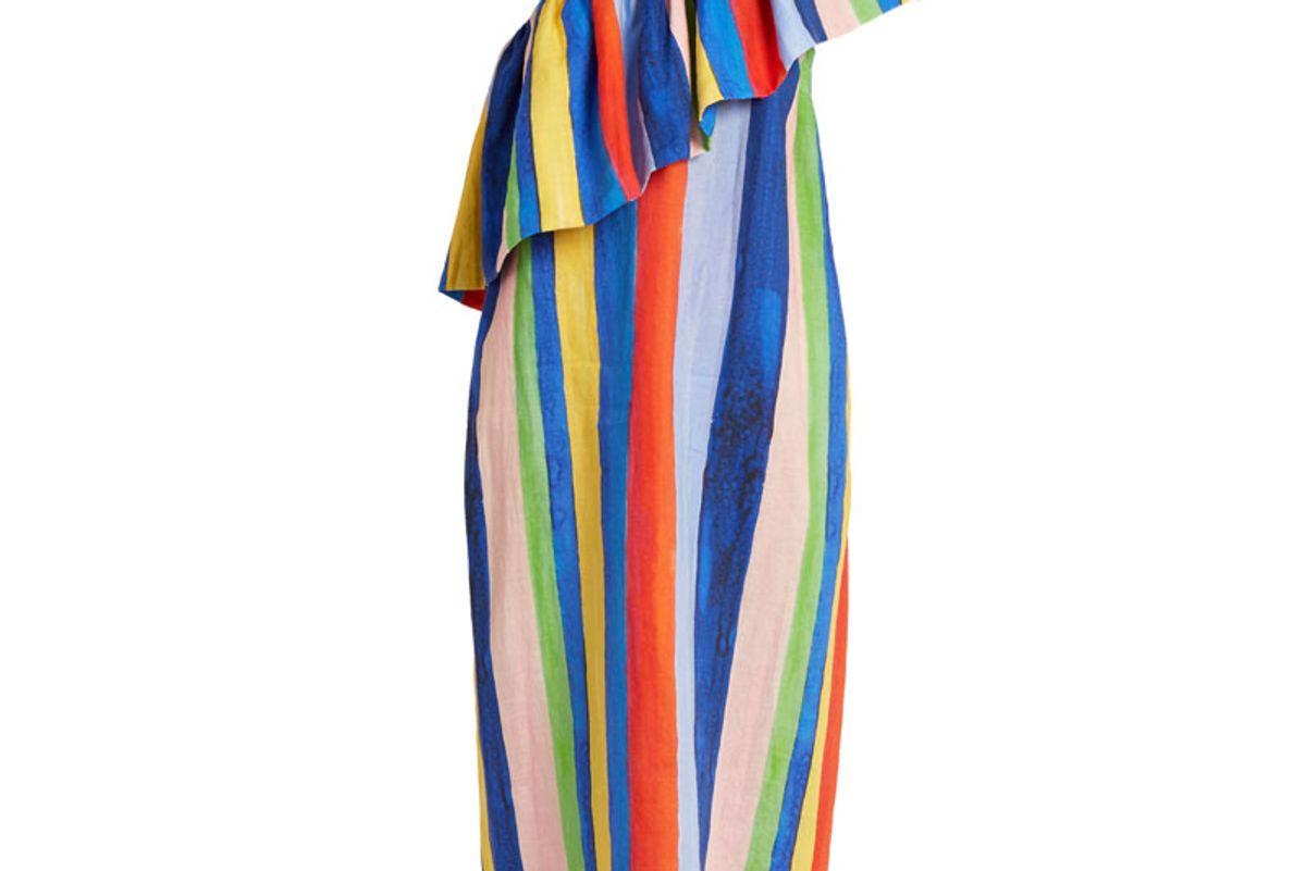 Rainbow Watercolour Stripe-Print Linen Dress