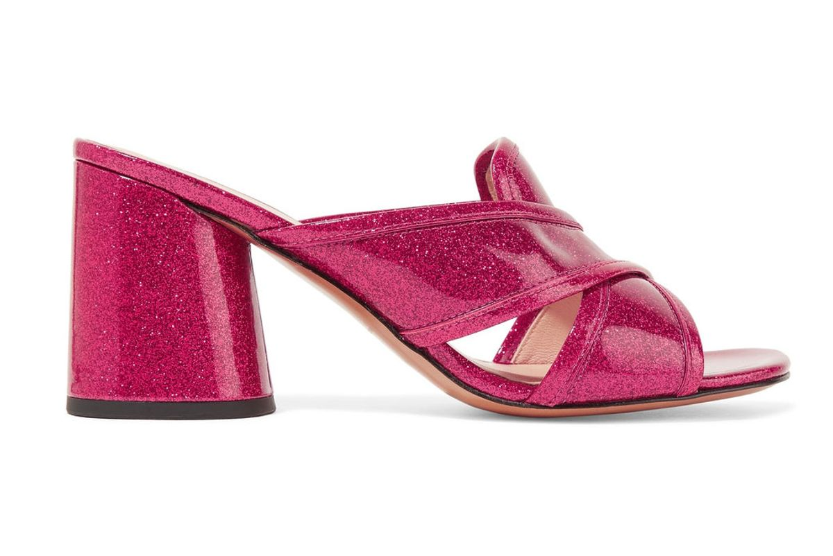 Aurora Glittered Patent-Leather Mules