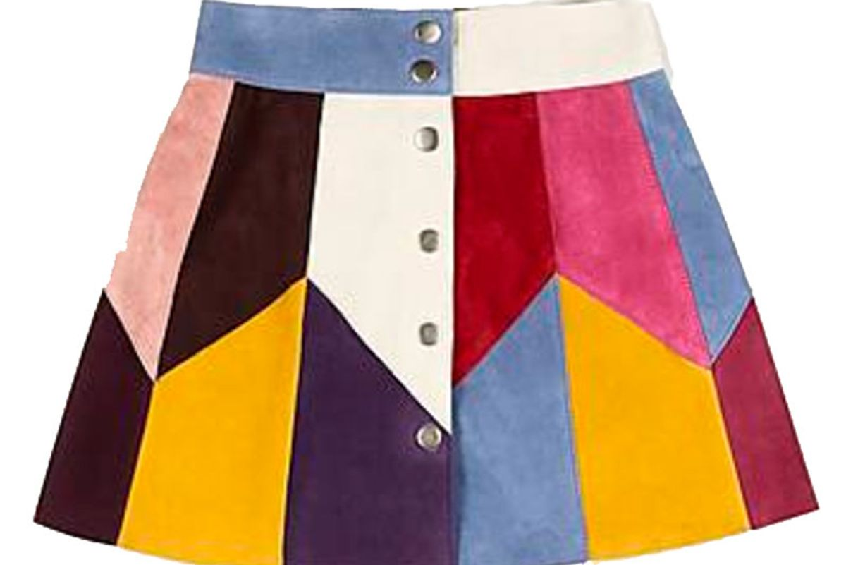 Rainbow Multi-Suede Skirt