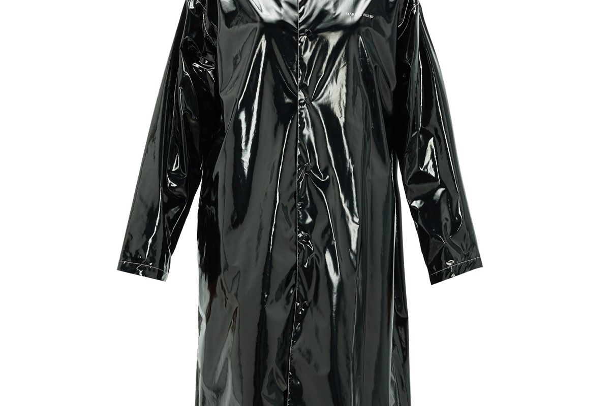 marine serre logo print single breasted pvc raincoat