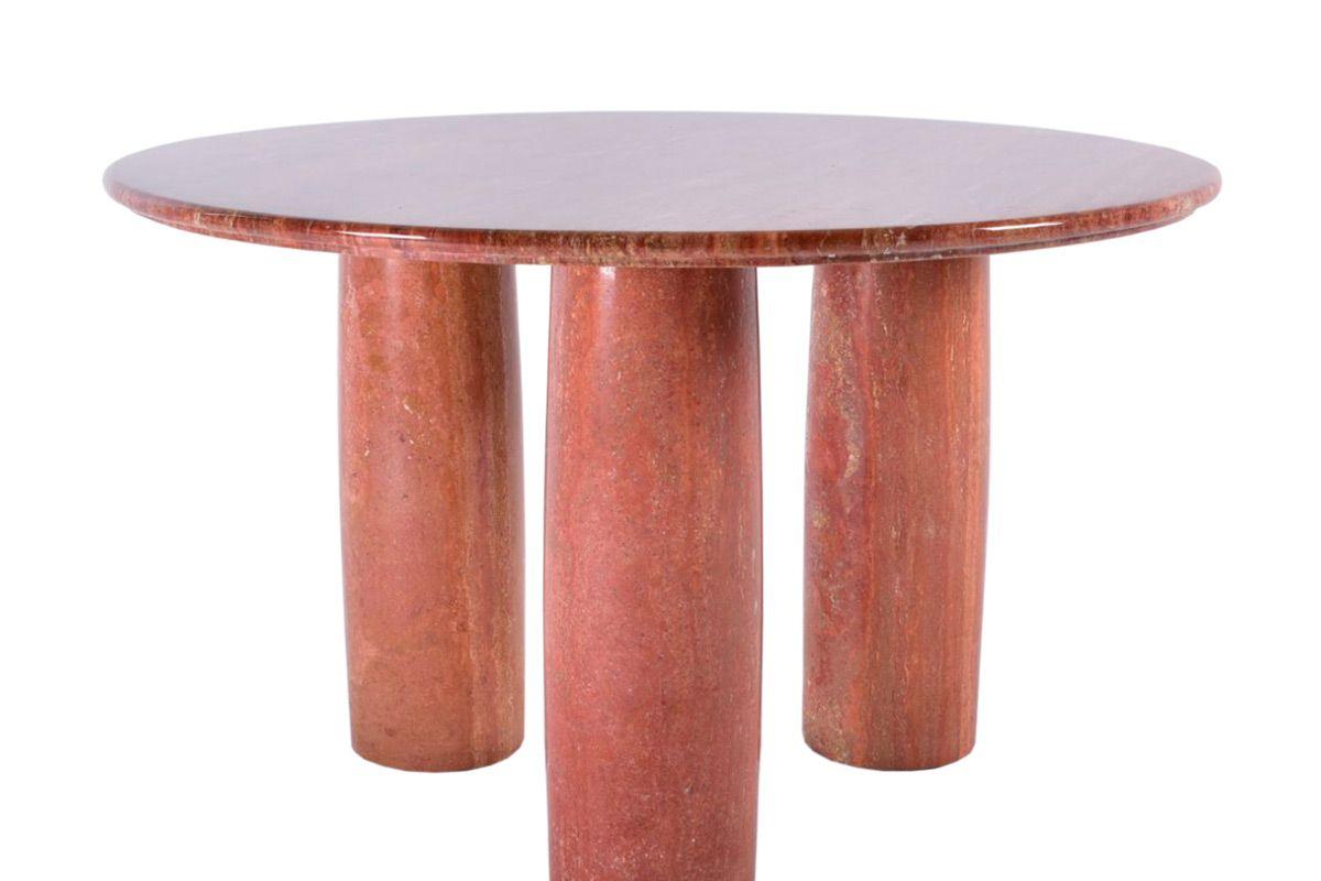 mid century 1970 red travertine mario bellini colonnato round dining table
