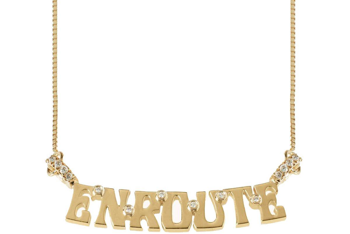marlo laz wordplate necklace enroute