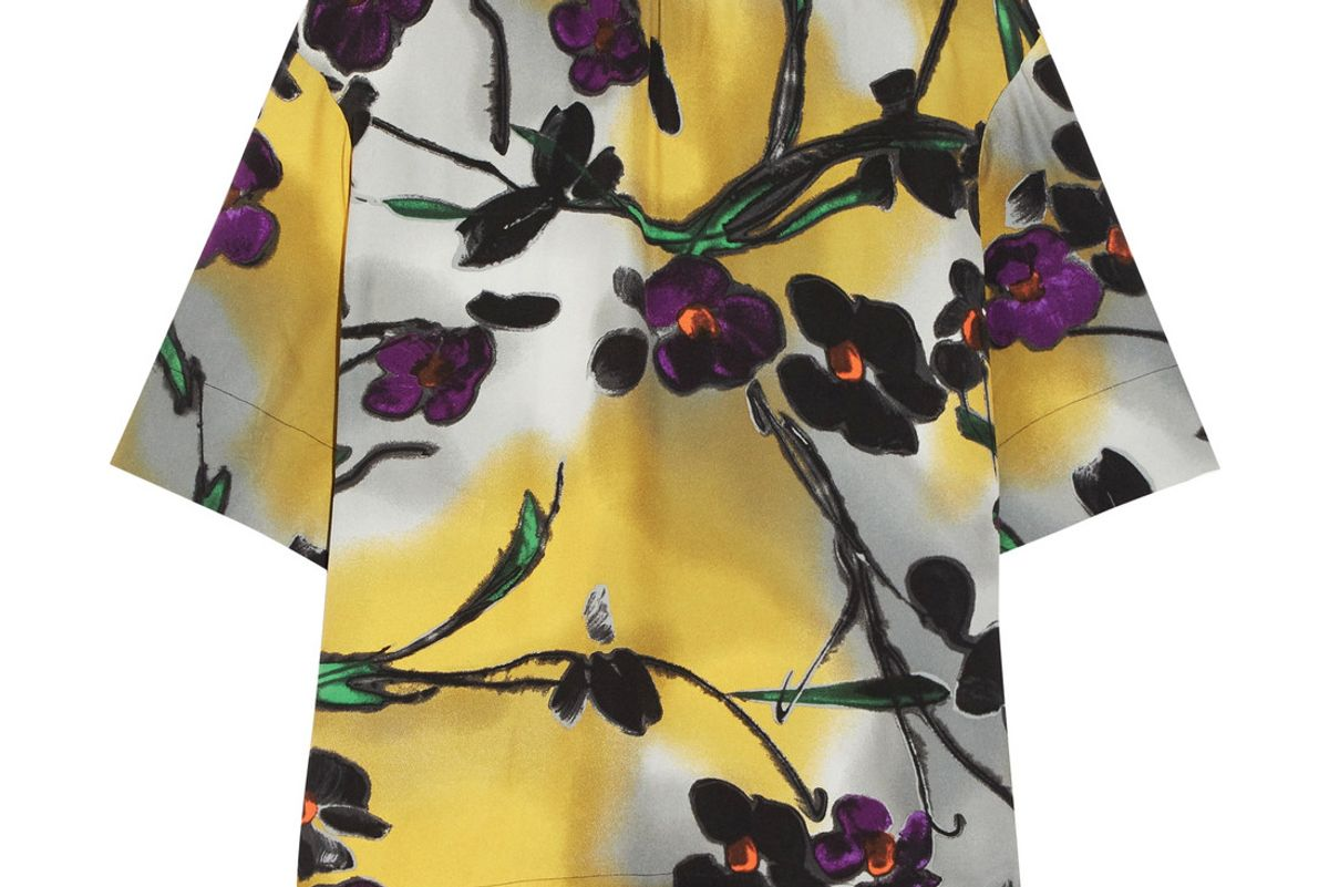 Floral-Print Crepe Top