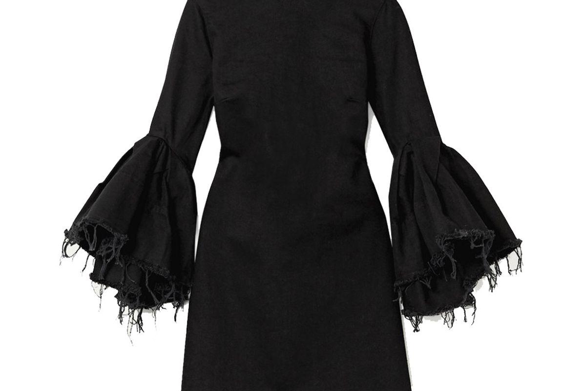 marques almeida ruffled frayed denim mini dress