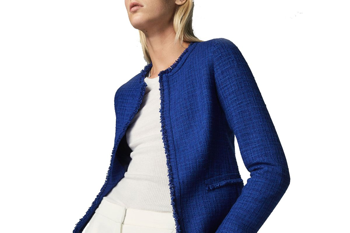 Textured Weave Cardigan with a Frayed Edge Detail