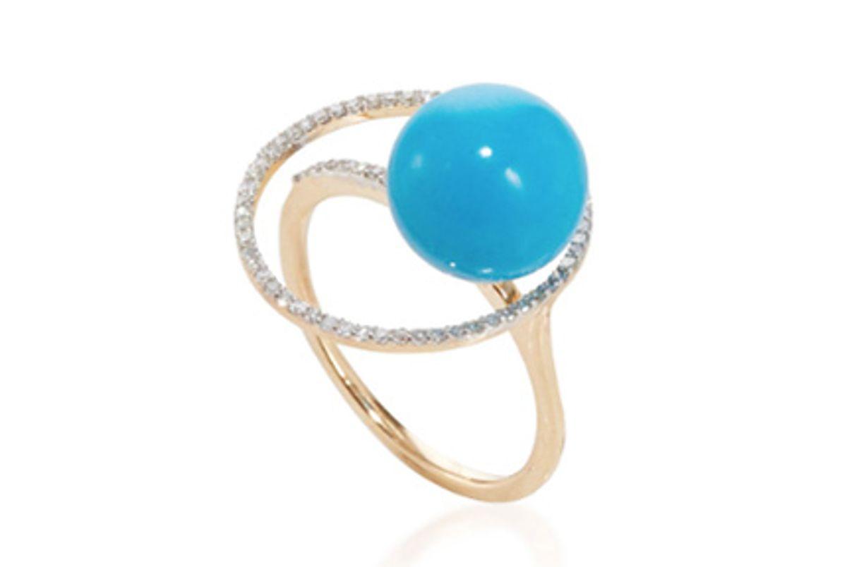 14k Yellow Gold Turqouise Orbit Ring With Diamonds