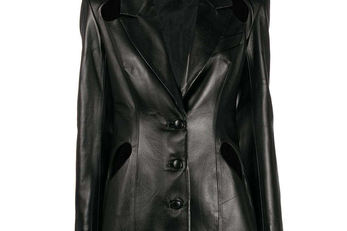 materiel cut out leather jacket