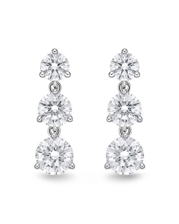 memoire 18k white gold 3 diamond drop earrings