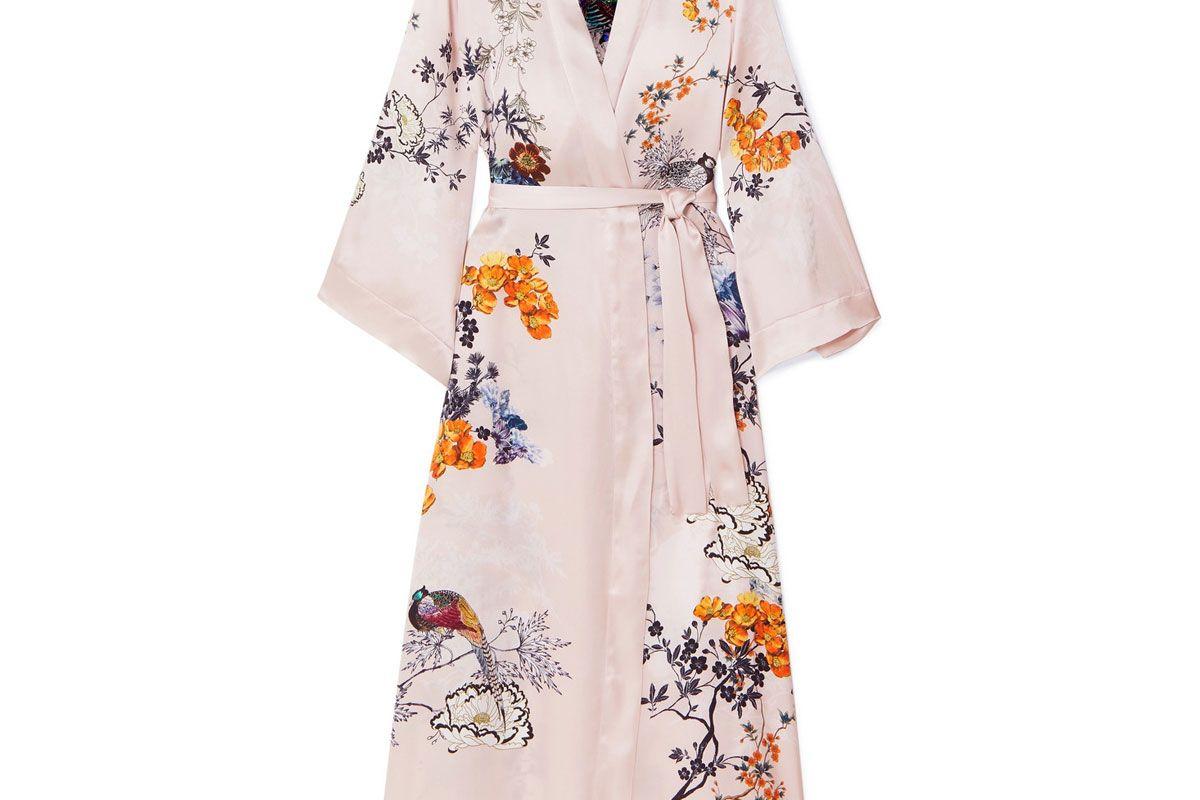 meng printed silk satin robe