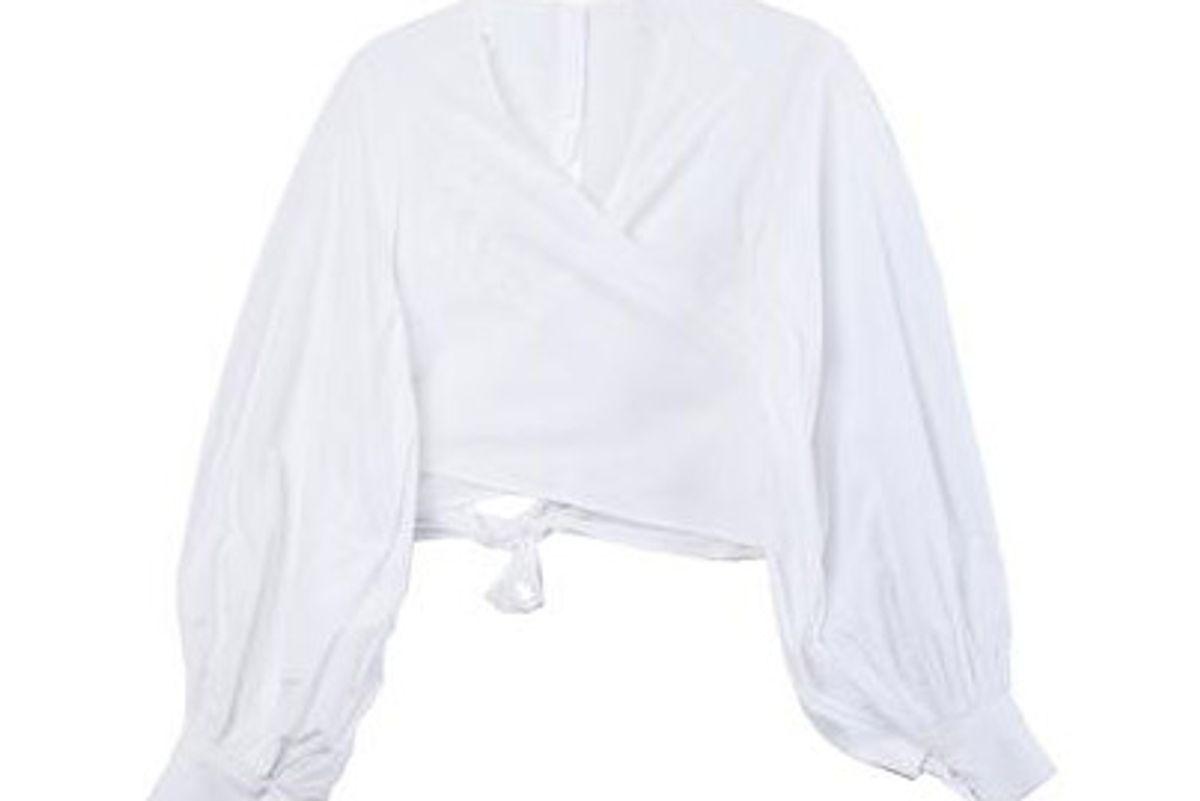 merlette spritz cropped wrap blouse