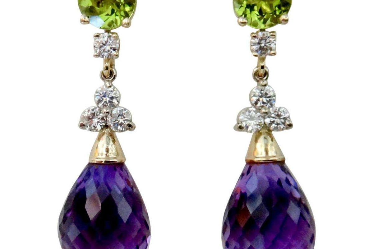 michael kneebone amethyst broiletteDiamond peridot dangle earrings