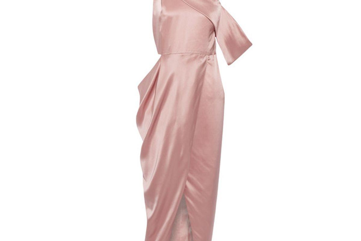 One-shoulder Cutout Silk-charmeuse Midi Dress