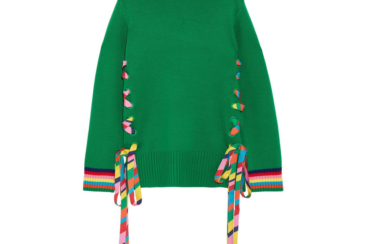 Lace-Up Grosgrain-Trimmed Merino Wool Sweater
