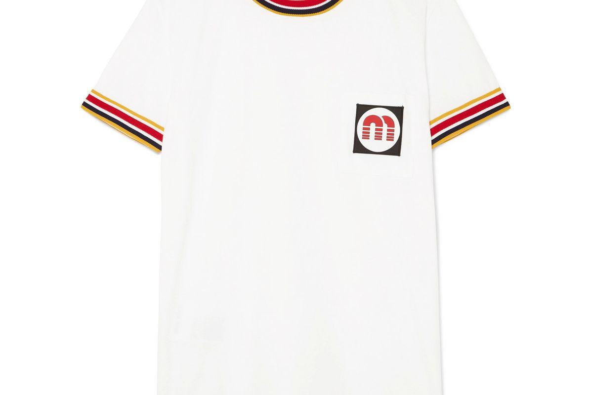 miu miu appliqued striped cotton jersey t-shirt