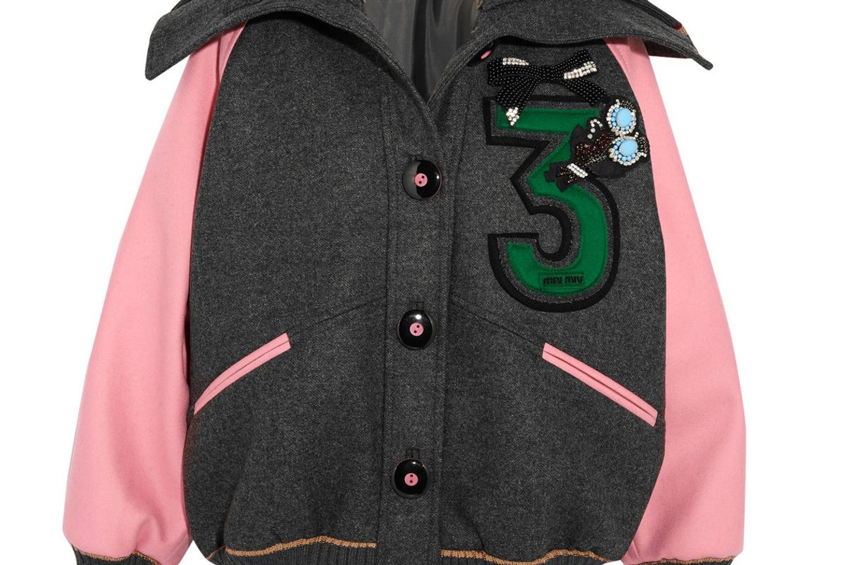 Embellished Appliquéd Wool-Felt Bomber Jacket