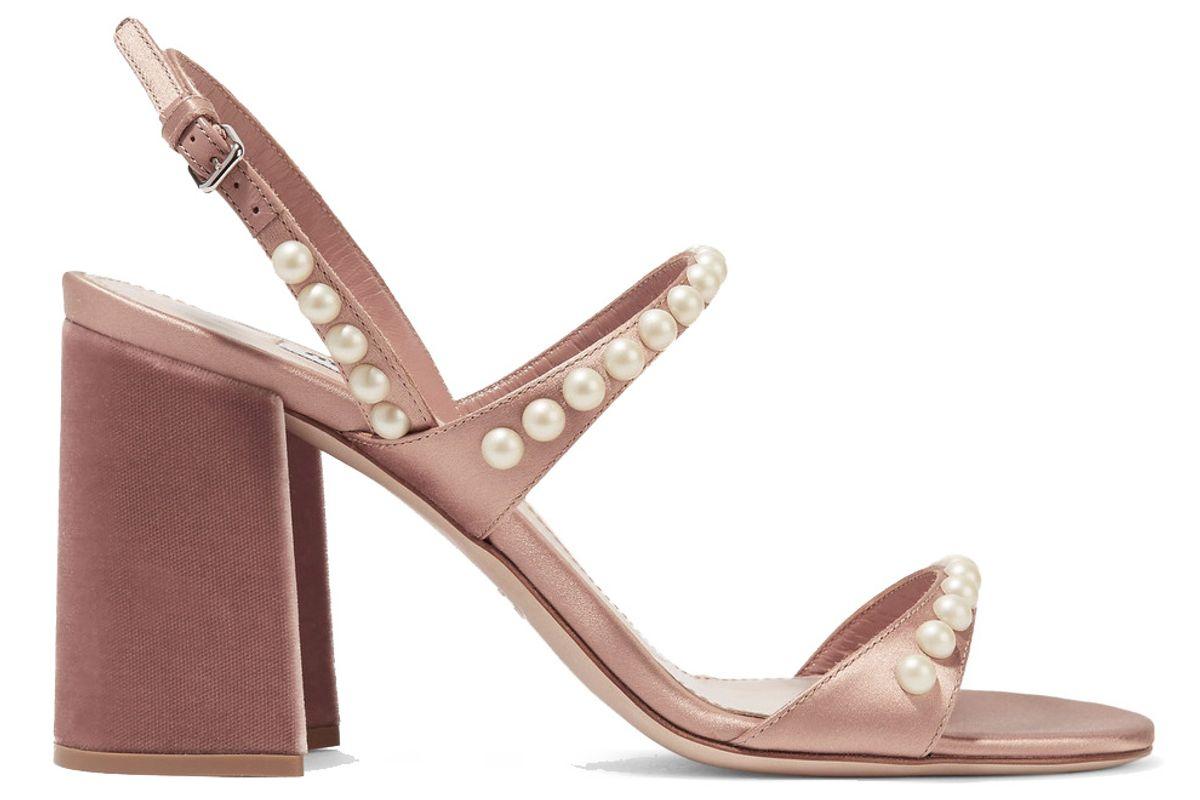 Faux Pearl-Embellished Satin and Velvet Sandals