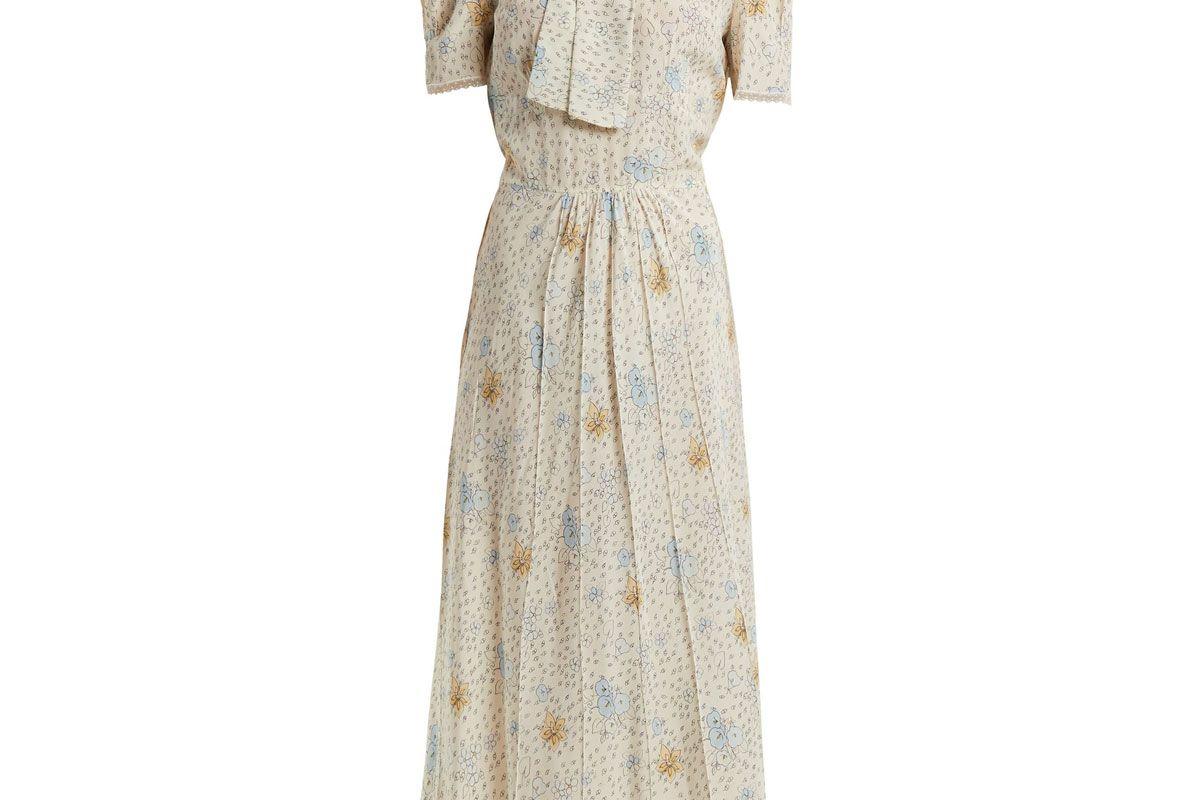 miu miu floral print crepe de chine dress